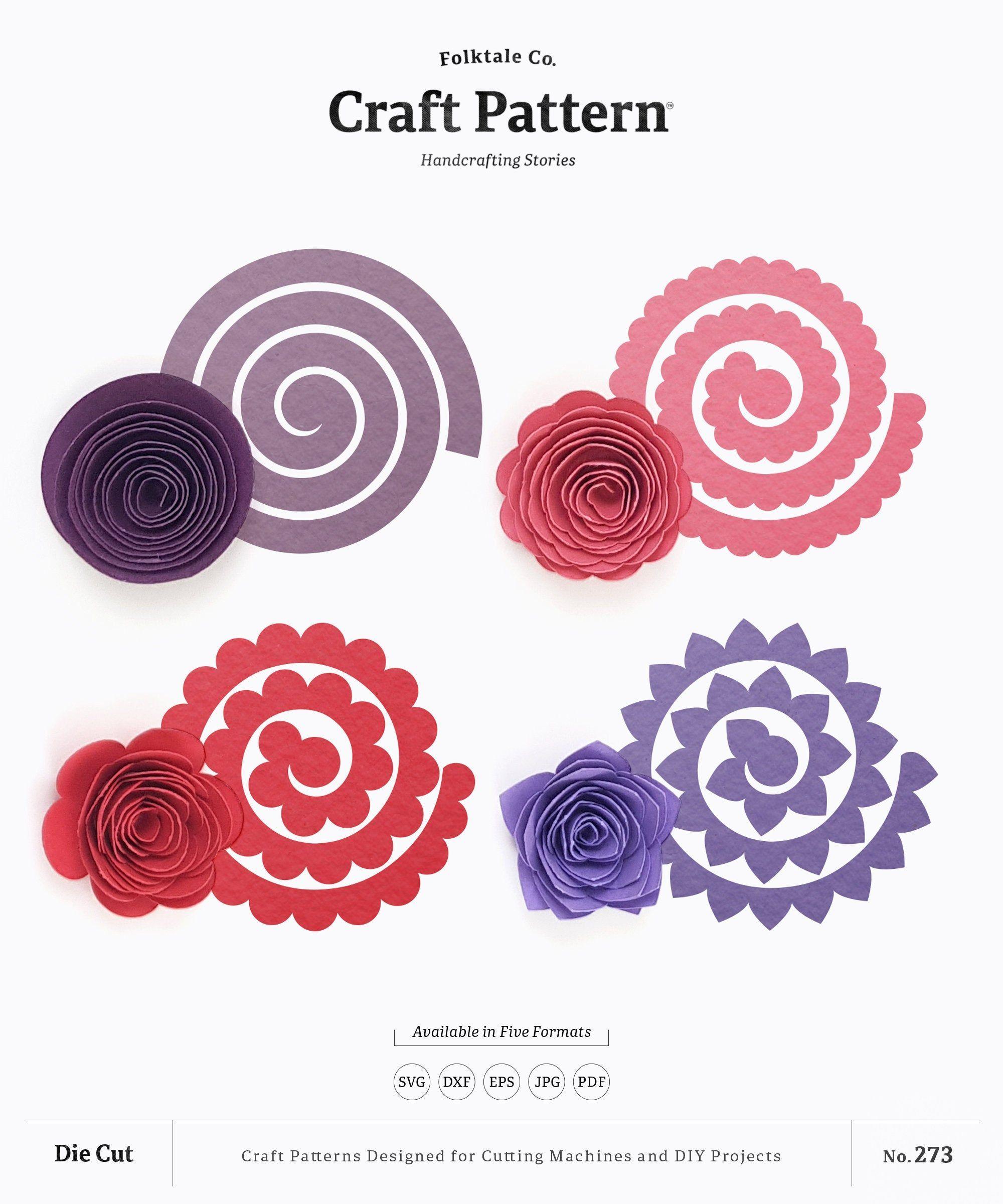 Rolled Flower SVG, Rolled Paper Flower SVG, 3D Flower Template, Paper Flowers Template, Silho...