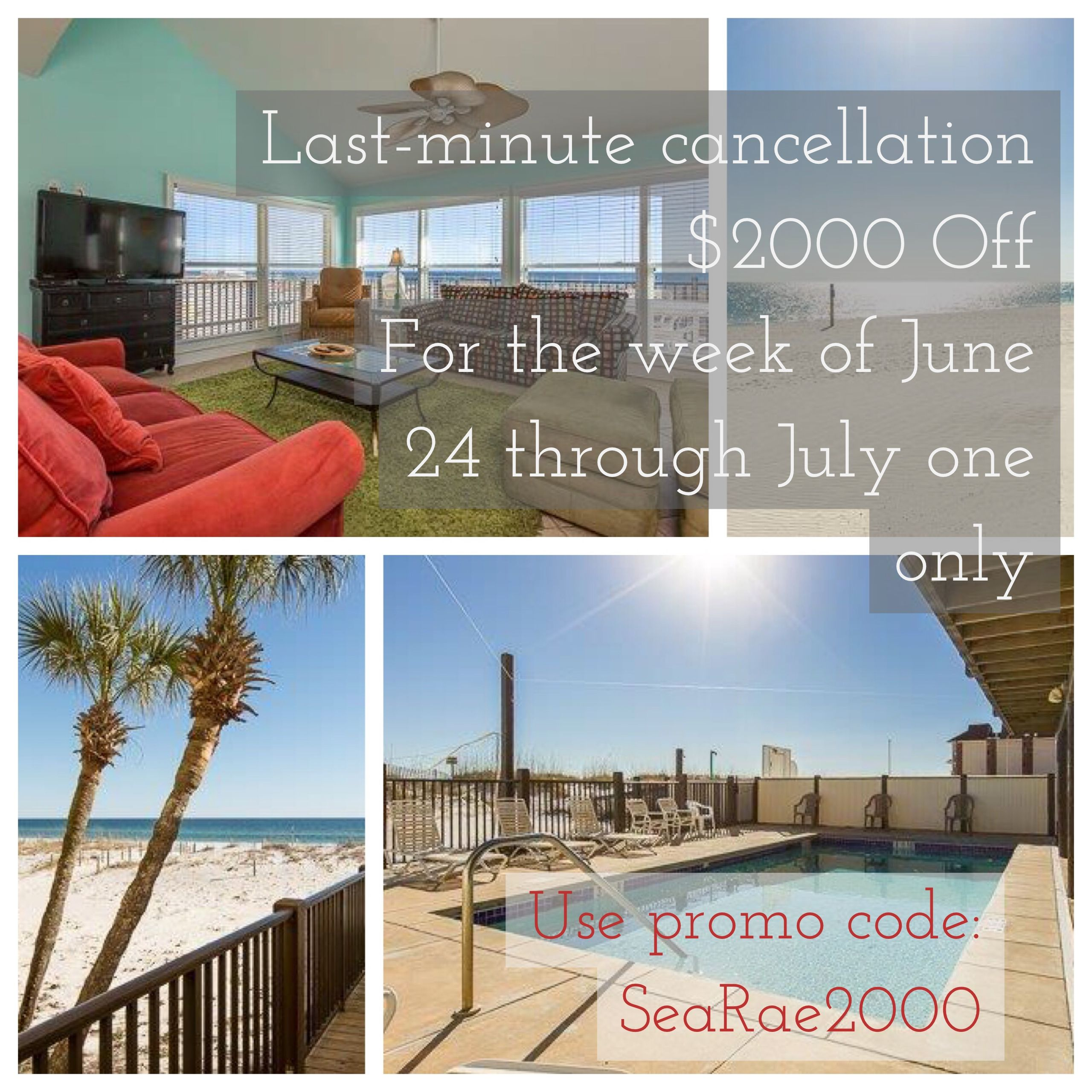 *LAST MINUTE CANCELLATION* $2000 OFF For The Week Of June