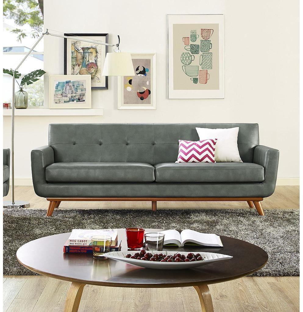 Tov Furniture Tov S31L Lyon Smoke Grey Leather Loveseat