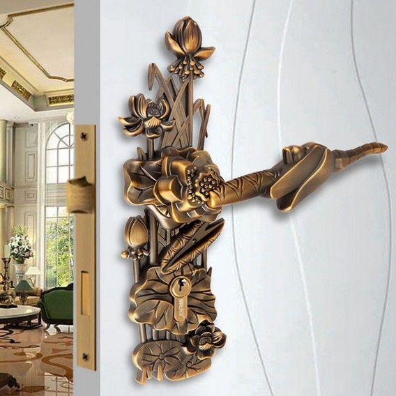 Attractive Bronze Door Levers #12 - Modeled After An Antique LOCK Yellow Bronze Door Lock Handle Door Levers  Out Door Furniture Door
