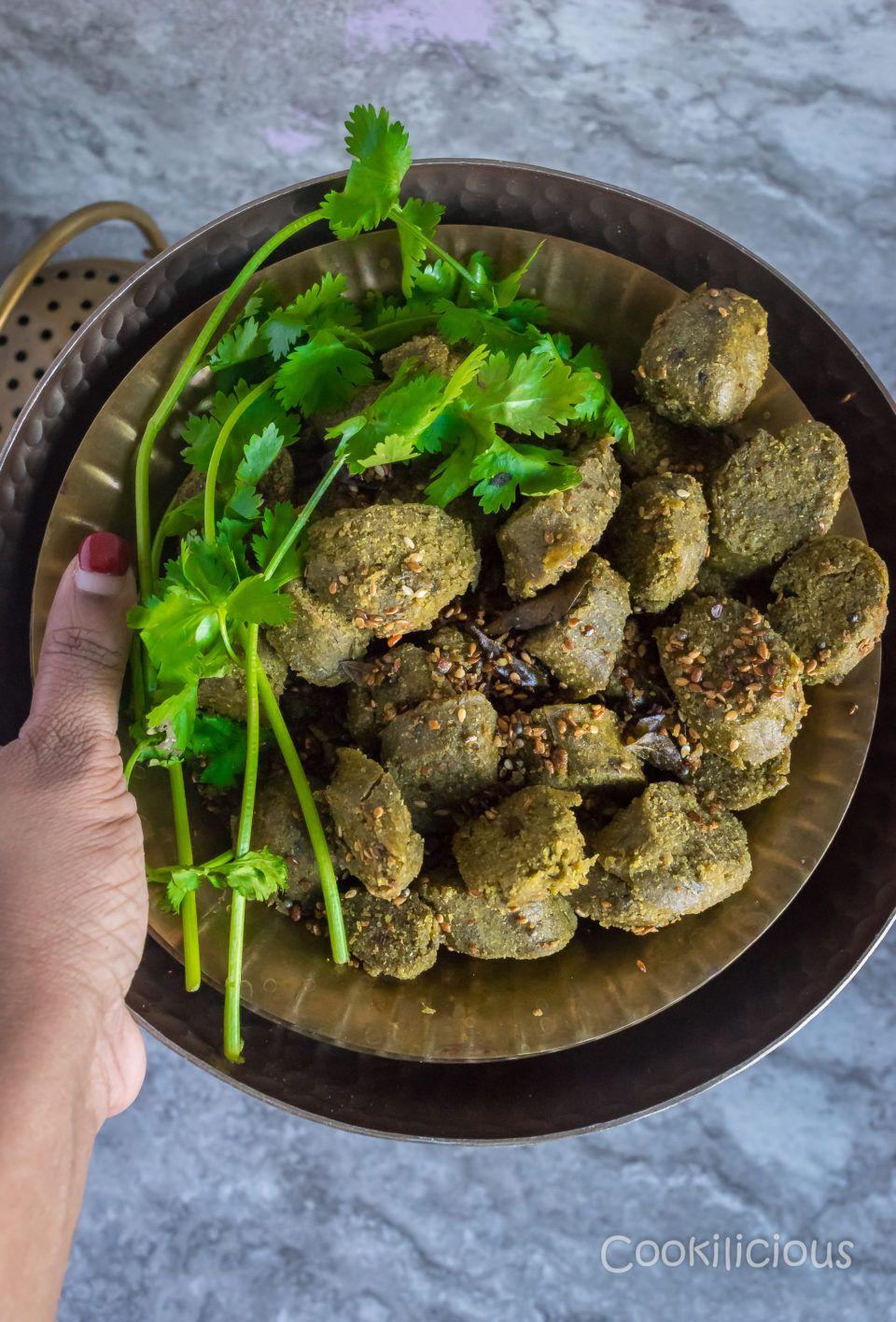 Steamed Bajra Muthiya/Dumplings Snack via @cookiliciousveg