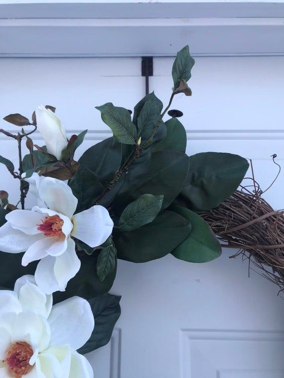 Photo of Magnolia wreath, spring wreaths for the front door, Mother's Day wreath, Easter wreath, peasant wreath