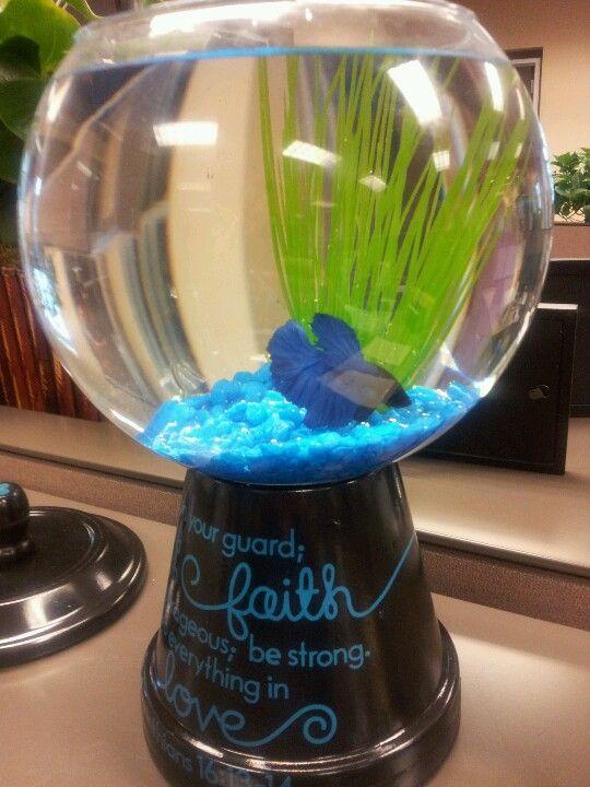 Fish Bowl For Office Desk Office Crafts Desk Decor Fish Bowl