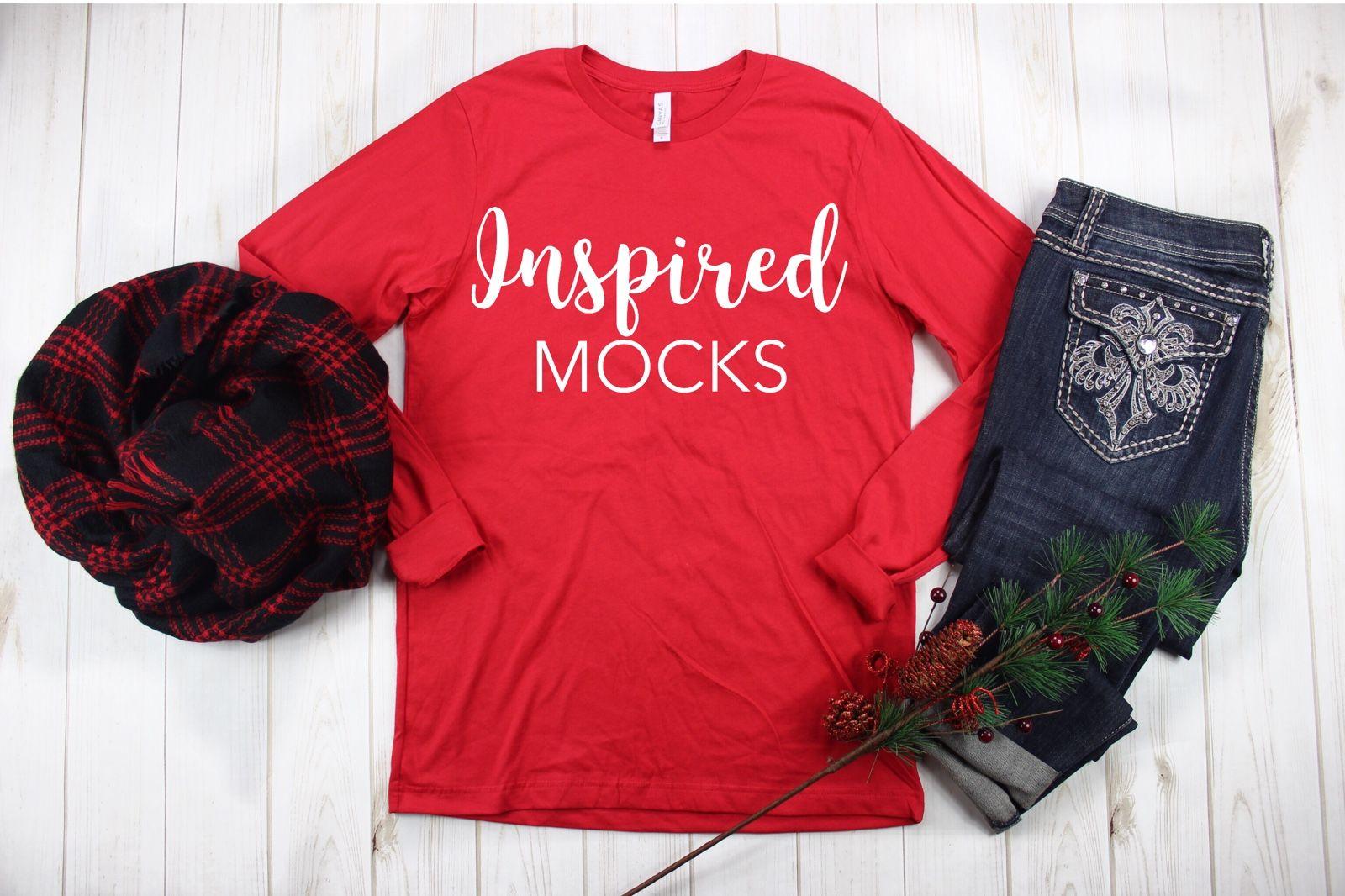 Christmas Mockkup T shirt Mock up Bella Canvas 3001 Canvas Red