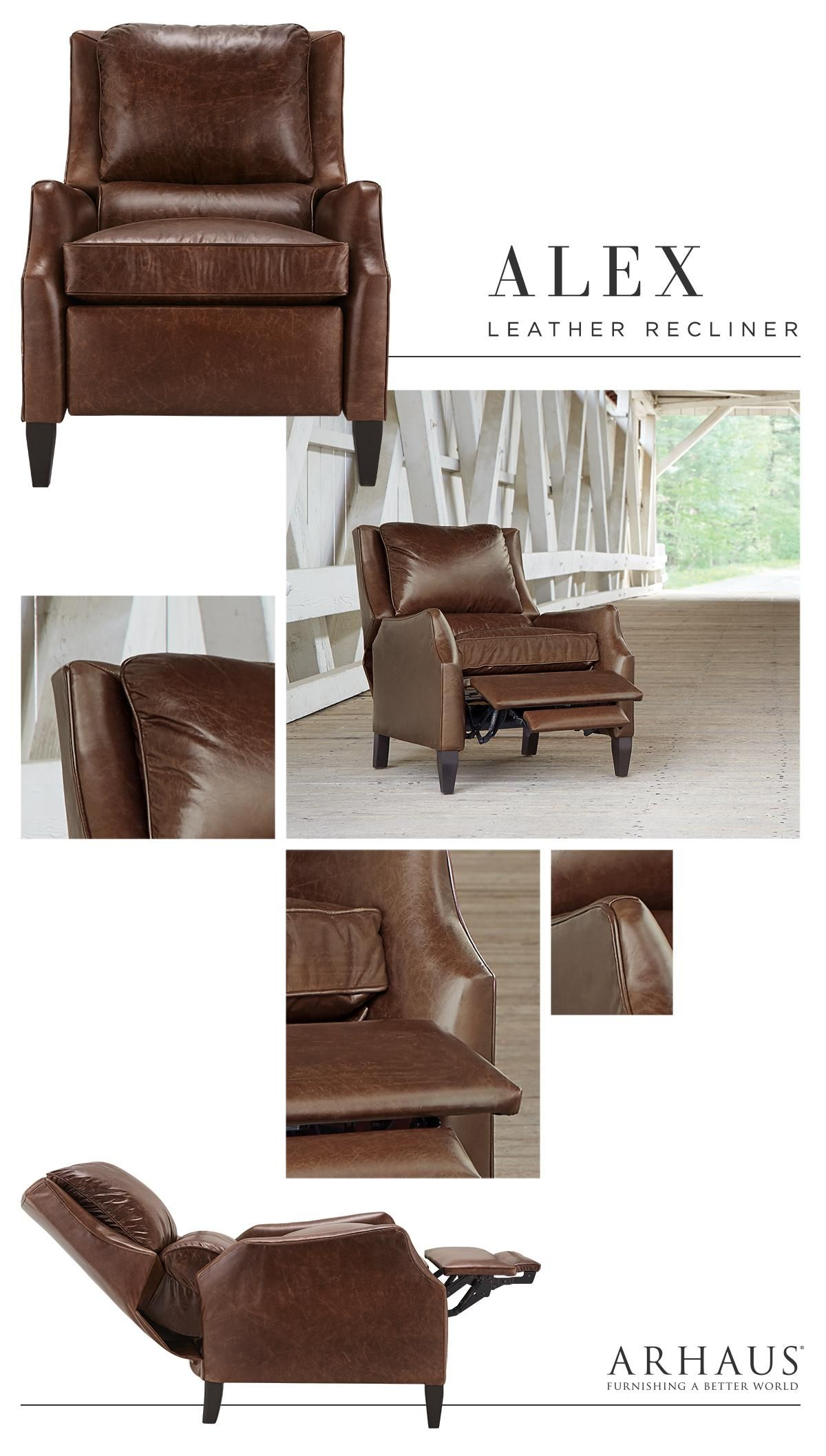 Alex Leather 30 Quot Recliner In Old West Sandalwood