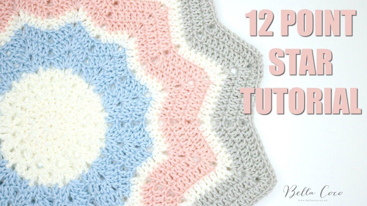 CROCHET 12 Point Star Tutorial   Bella Coco   YouTube   Crochet ...