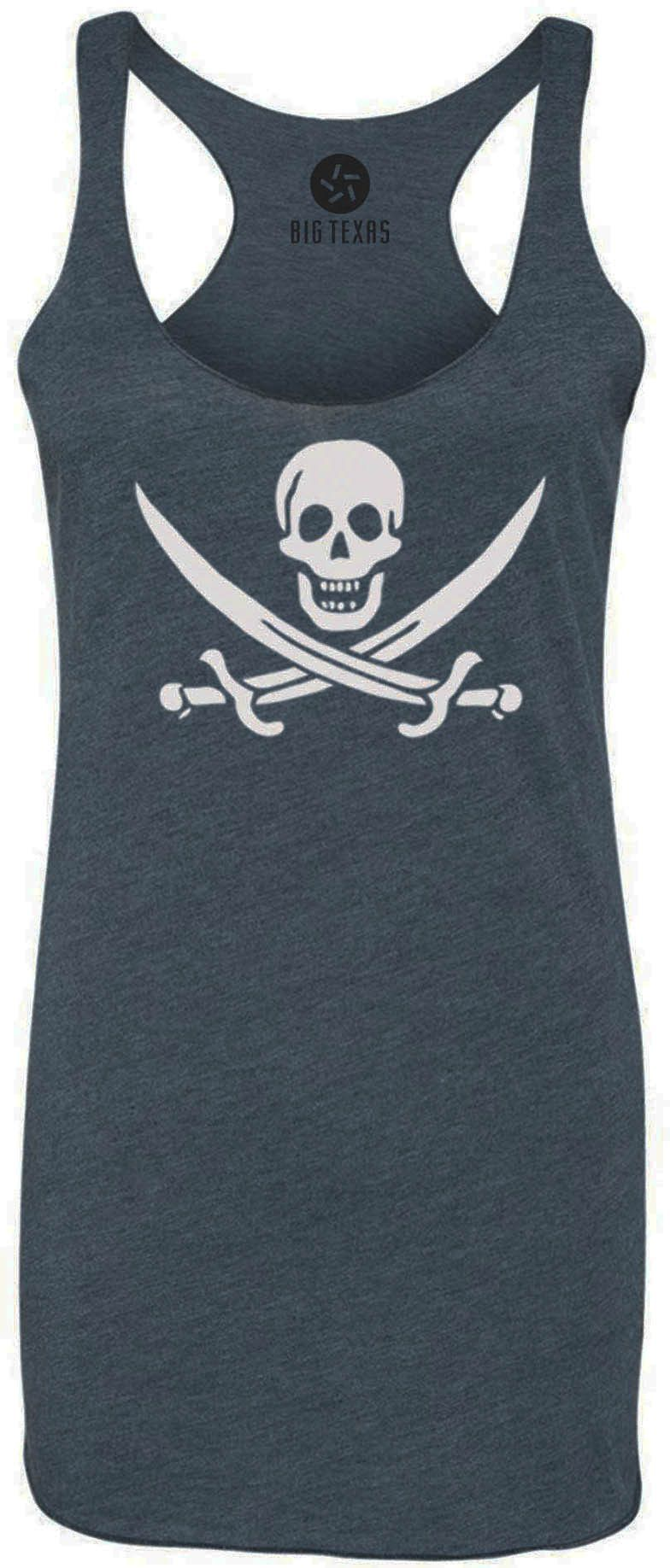 Pirate Swords (White) Tri-Blend Racerback Tank-Top