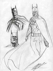 Batman Loose Renderings 9 X 12 Pencil Signed By Alex Ross