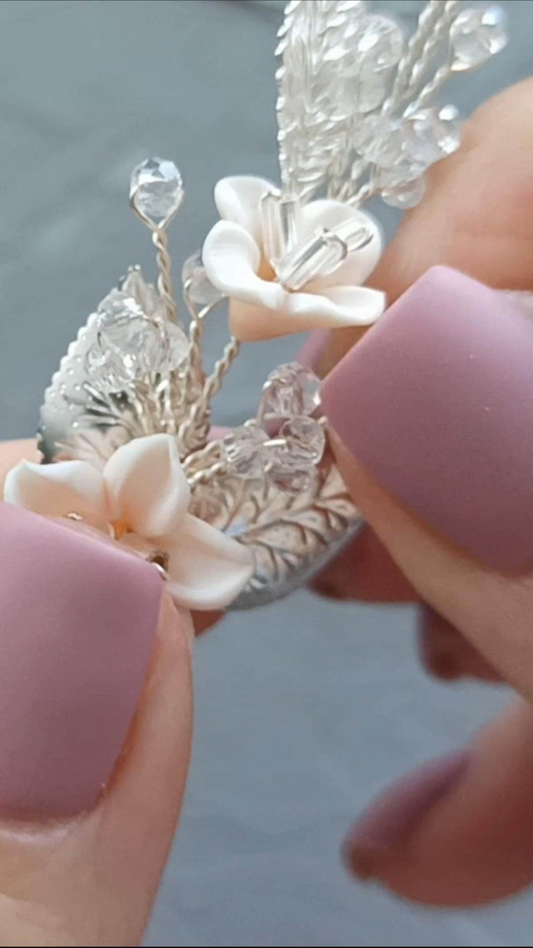 DIY Video Tutorial bridal floral headpiece, How to make wedding polymer clay flower hairpin