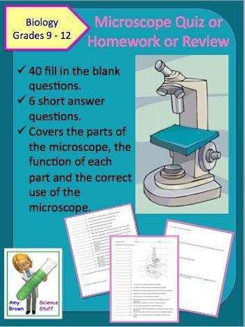 Microscope Quiz / Homework / Review Worksheet | Worksheets, Teaching ...