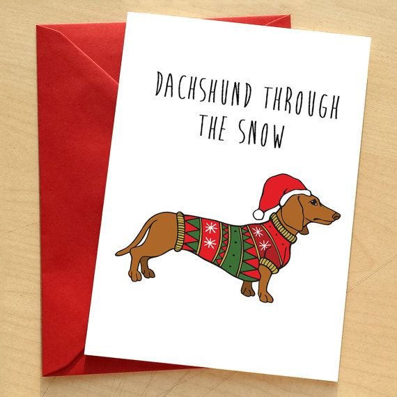 Dog Christmas Puns.Dachshund Christmas Card By Catherine Went Doxie Funny