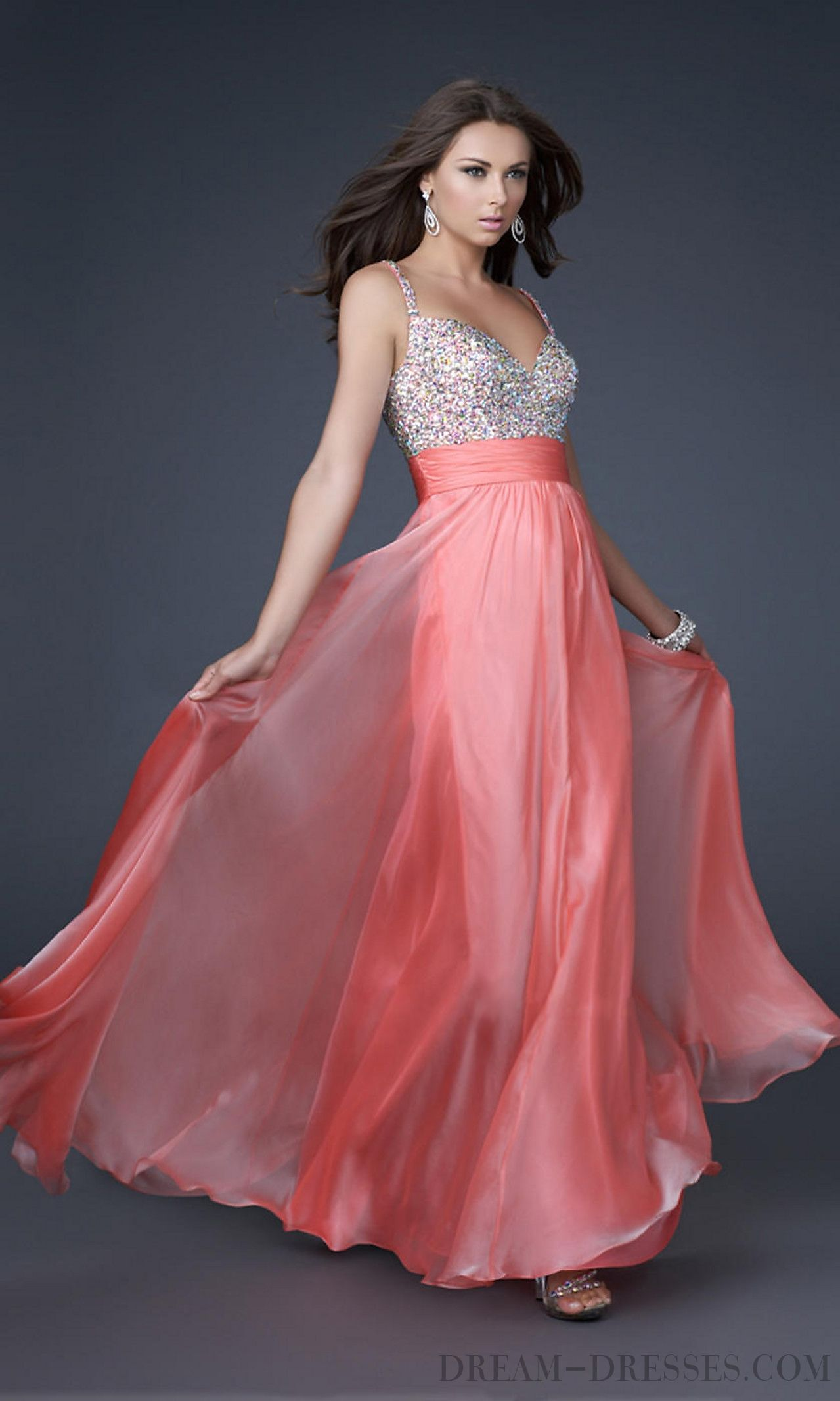 Classical Beading A-line Straps Chiffon Prom Dresses | Prom Dress ...