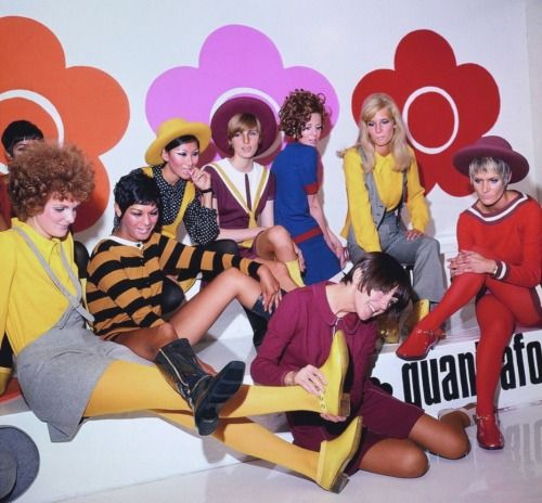 Mary Quant with models, 1967