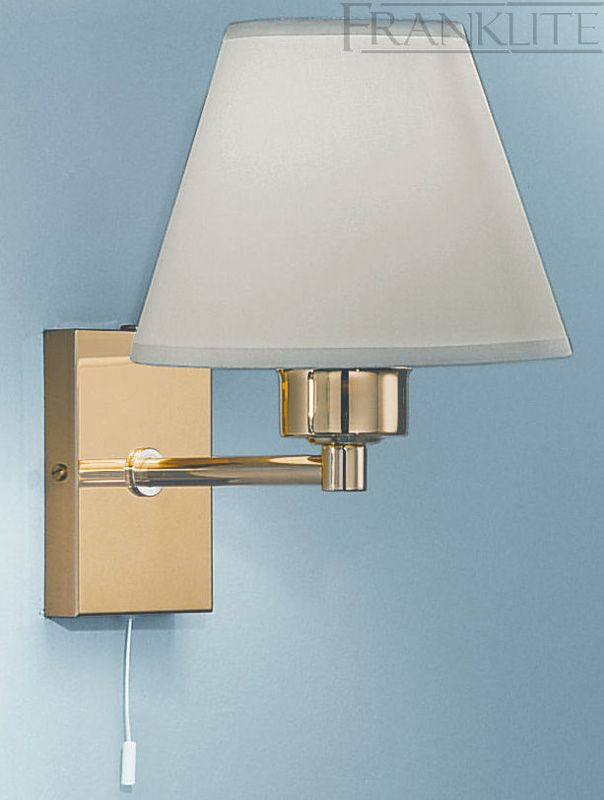 Polished Brass Switched Wall Light & Shade