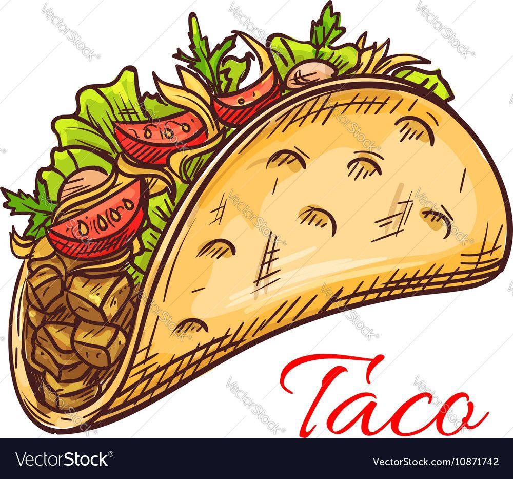 Mexican Beef Taco With Fresh Vegetables Sketch Vector Image Affiliate Taco Fresh Mexican Beef Imagenes De Tacos Puesto De Tacos Iconos De Alimentos