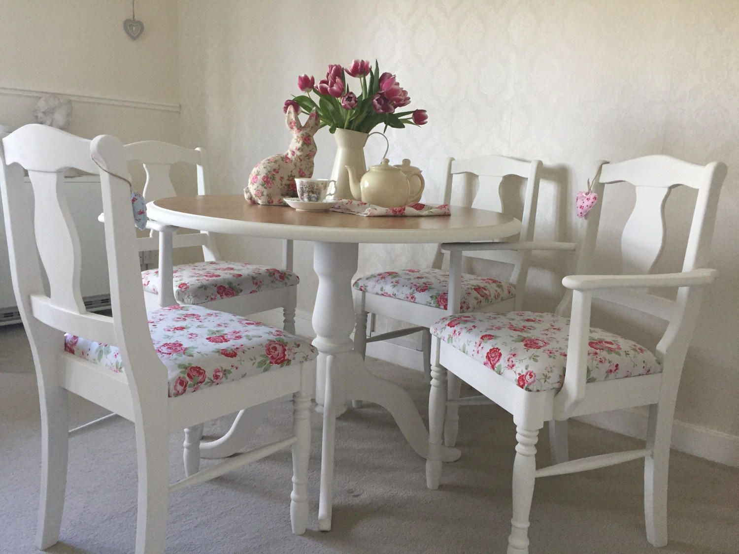 Farmhouse Table And Chairs Shabby Chic Kitchen Dining Table Set ...