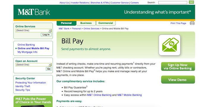 M T Bank Bill Pay Login To Mtb Com Online Payment Paying Bills Bank Bill Mortgage Info