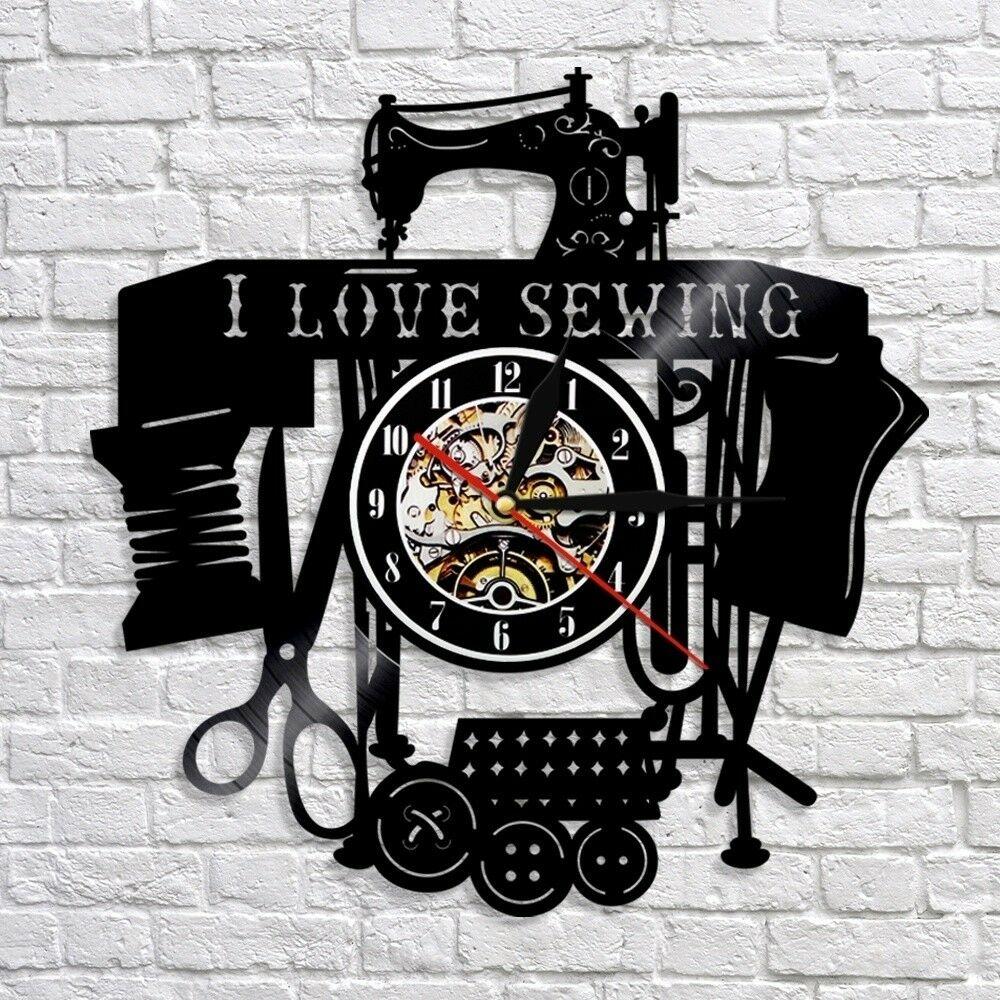 Sewing Salon Vinyl Record Clock Wall Clock Tailoring Tailor Gift Home Decor In 2020 Vinyl Record Clock Vintage Wall Clock Record Clock