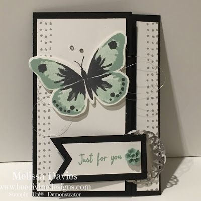 hand crafted card by Melissa Davies ... fancy fold latch card  ... luv the cool green and black combo for the butterfly ... Stampin' Up!