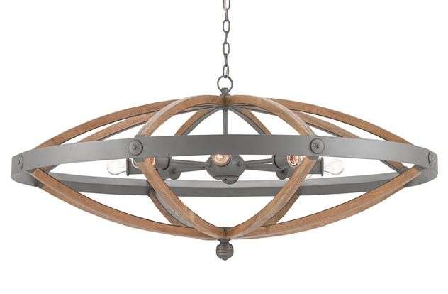 Currey Co Wood And Metal Chandelier With Images Wood And