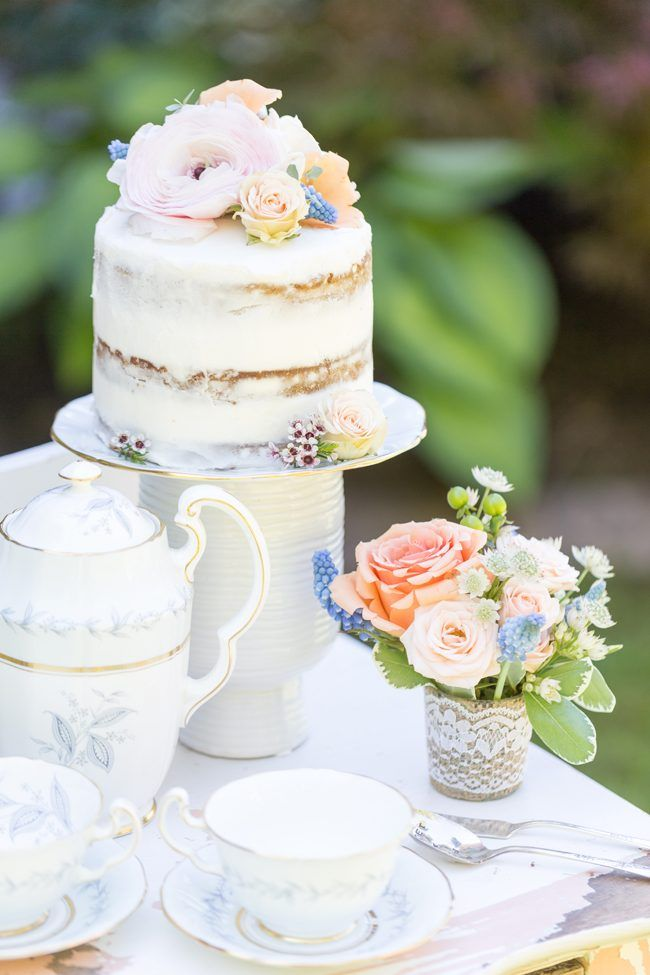 Mini naked cake Macarons on vintage dessert stand | Warin Marie Photography…