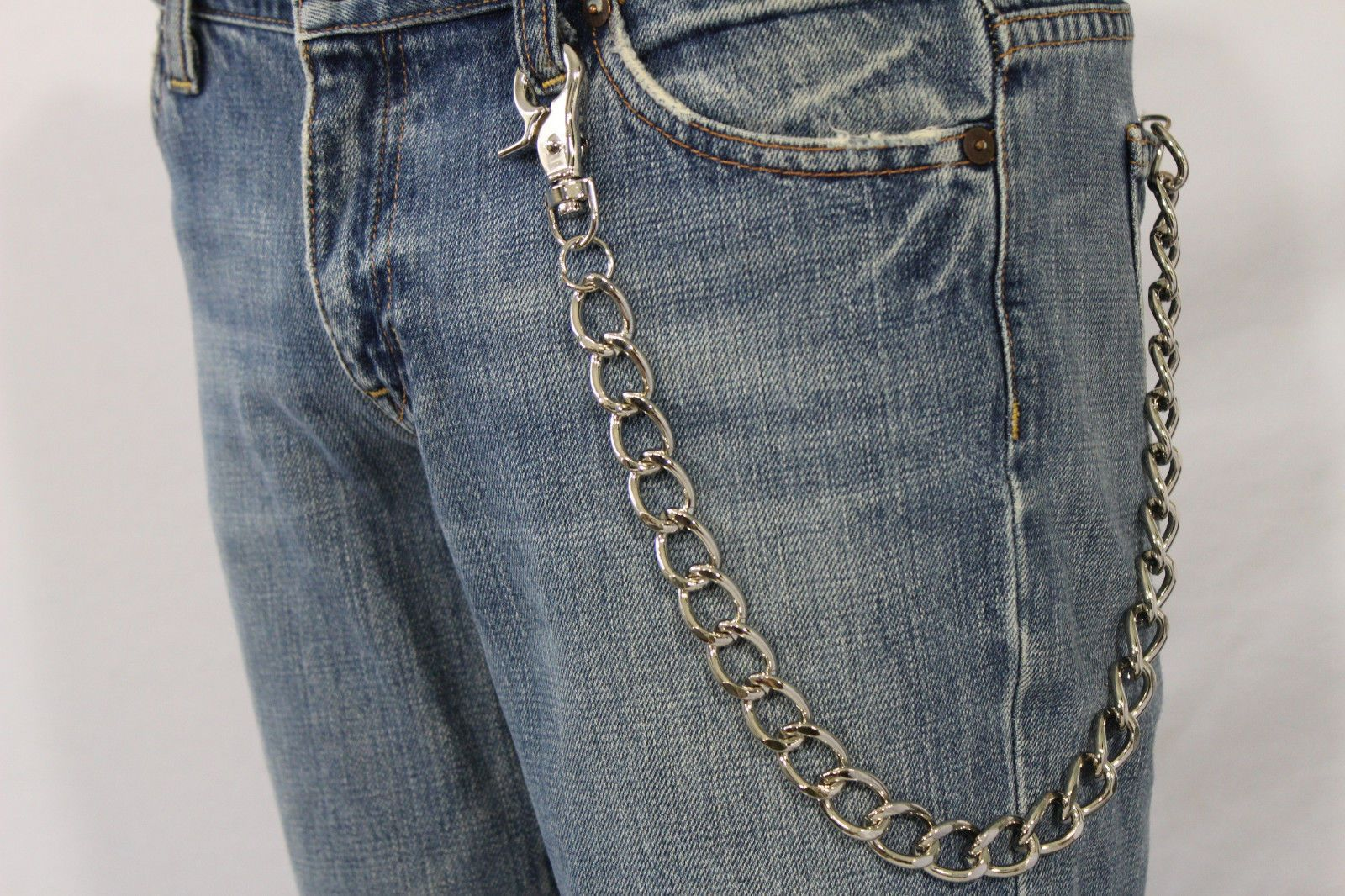 Men Silver Casual Chunky Metal Extra Long Wallet Chains KeyChain Biker Jeans New