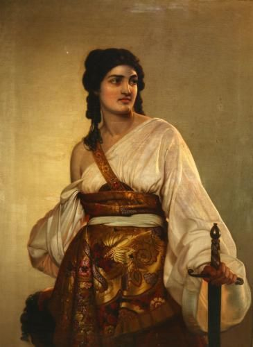 An oil on canvas after the painting by August Riedel (German, 1799-1883) in which the biblical figure Judith stands holding a sword, the decapitated head of Hol