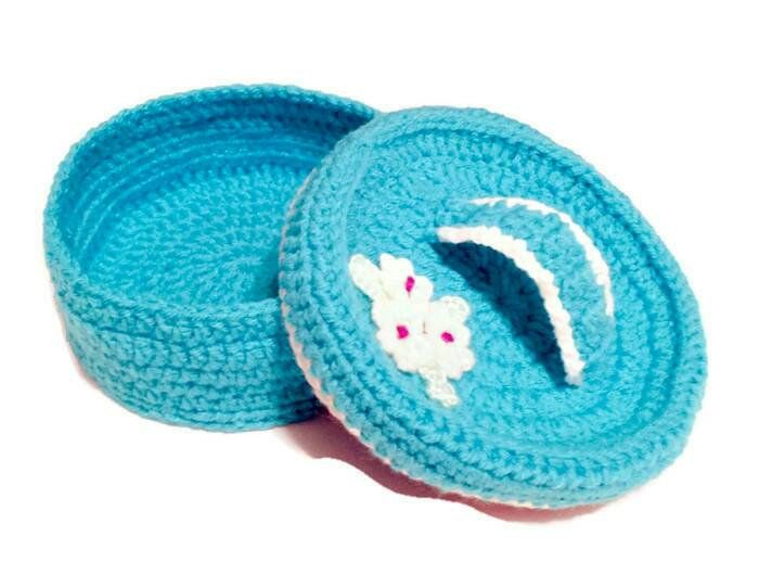 Crochet Jewelry Basket with Lid Mom Gift Ideas Night Table Decor
