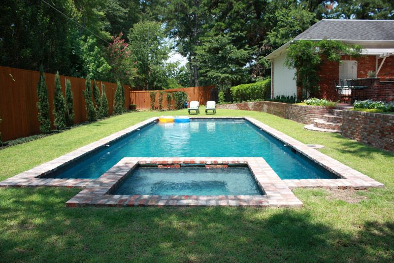 custom square hot tub off rectangular pool   Outdoor space ...