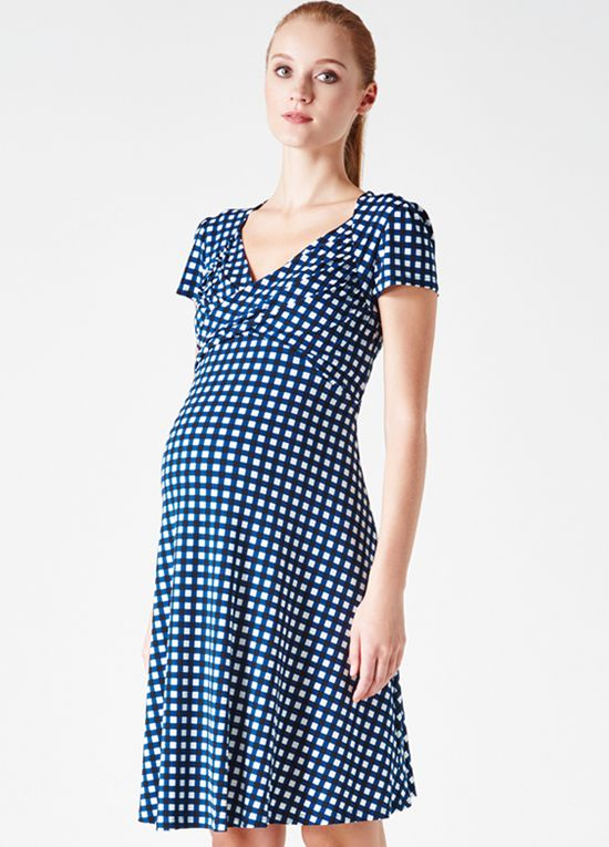 cc4a3382b3dac Queen Bee Marine Gingham Maternity Sweetheart Dress by Leota Spring  Maternity, Maternity Wear, Maternity