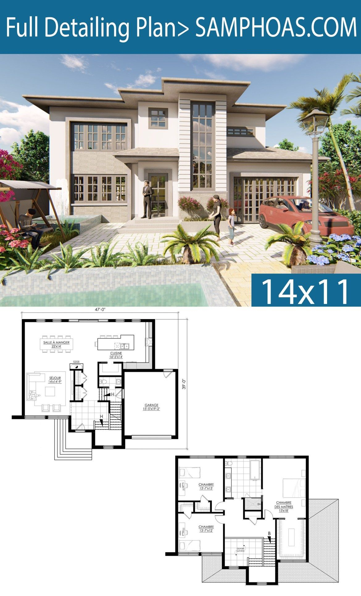 Home Design Plan 17x14m With 4 Bedrooms Beautiful House Plans Architectural House Plans House Projects Architecture