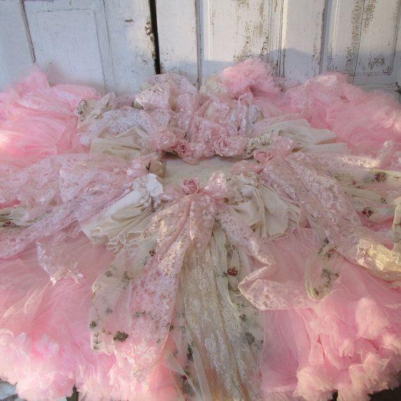 cream christmas tree skirt part 35 pink christmas tree skirt cottage roses shabby tattered - Pink Christmas Tree Skirt