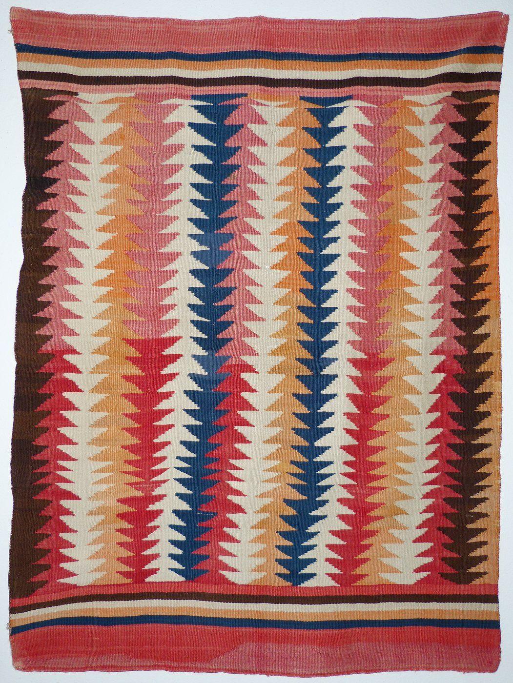 Navajo Transitional Blanket With Indigo C 1880 Shiprock Santa Fe