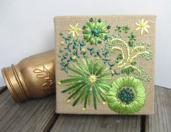 Rita's flowers. Shades of green and yellow vintage by RubyBuffalo