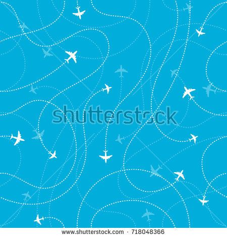 Airplane Destinations Seamless Background Adventure Time Stock Vector (Royalty Free) 718048366