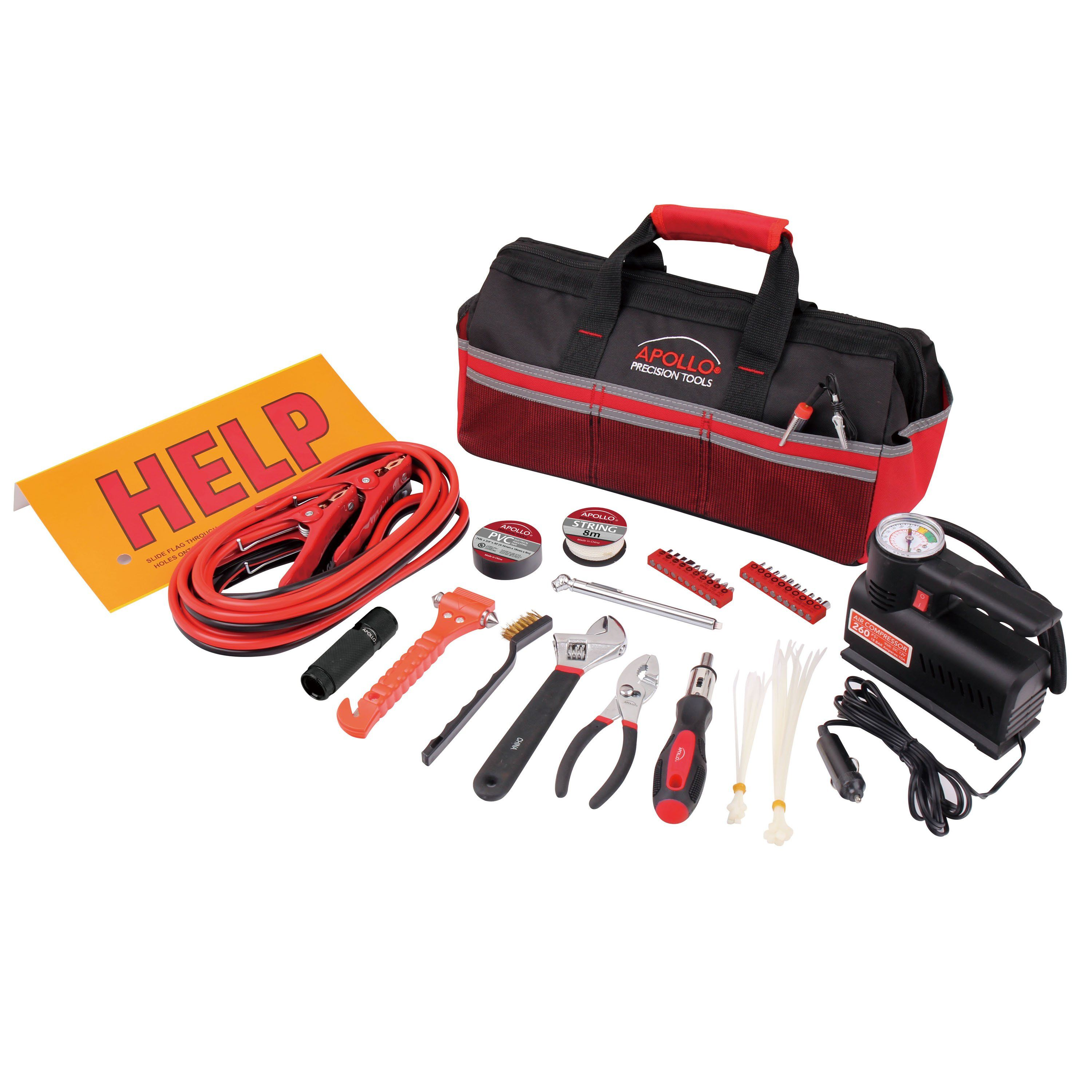 53 Piece Roadside Emergency Tool Kit with Air Compressor