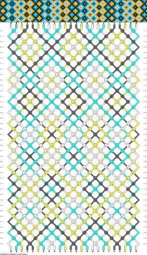 7b2057646683 Patrón rombos chicos, 24 hilos, 4 colores | pulseras | Pulseras y ...