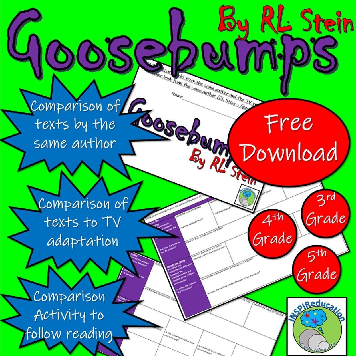 Goosebumps By Rl Stein Novel Comparison Worksheet