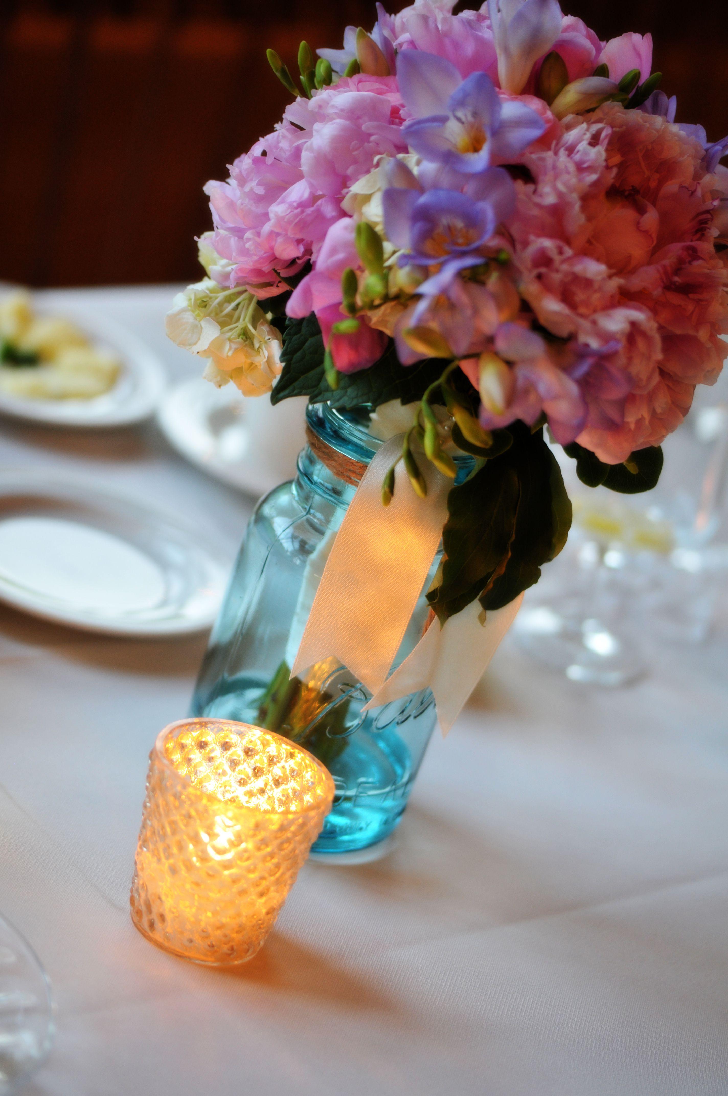 Blue mason jar with flowers-table decor