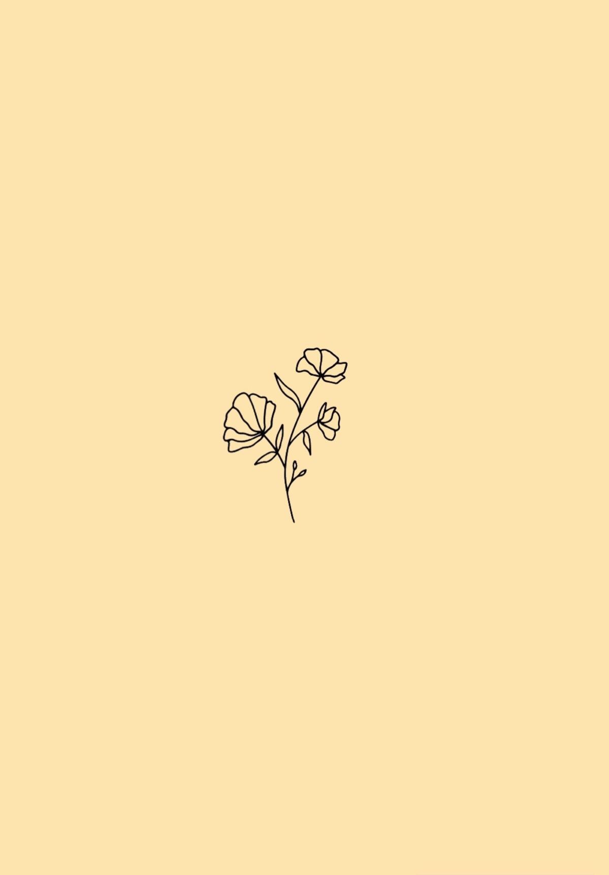 Minimalist Flower Wallpaper Pastel Yellow Background Yellow