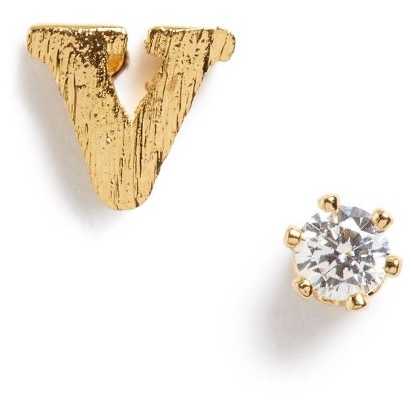 Tai Initial Cubic Zirconia Stud Earrings 96 Brl Liked On Polyvore Featuring