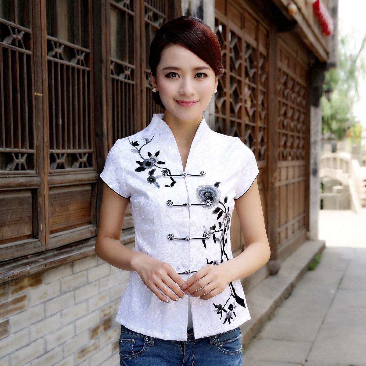 10% off - Coupon code: 9fuda-p10 - no minimum! - Attractive Open Neck Oriental Style White Shirt - Chinese Shirts & Blouses - Women