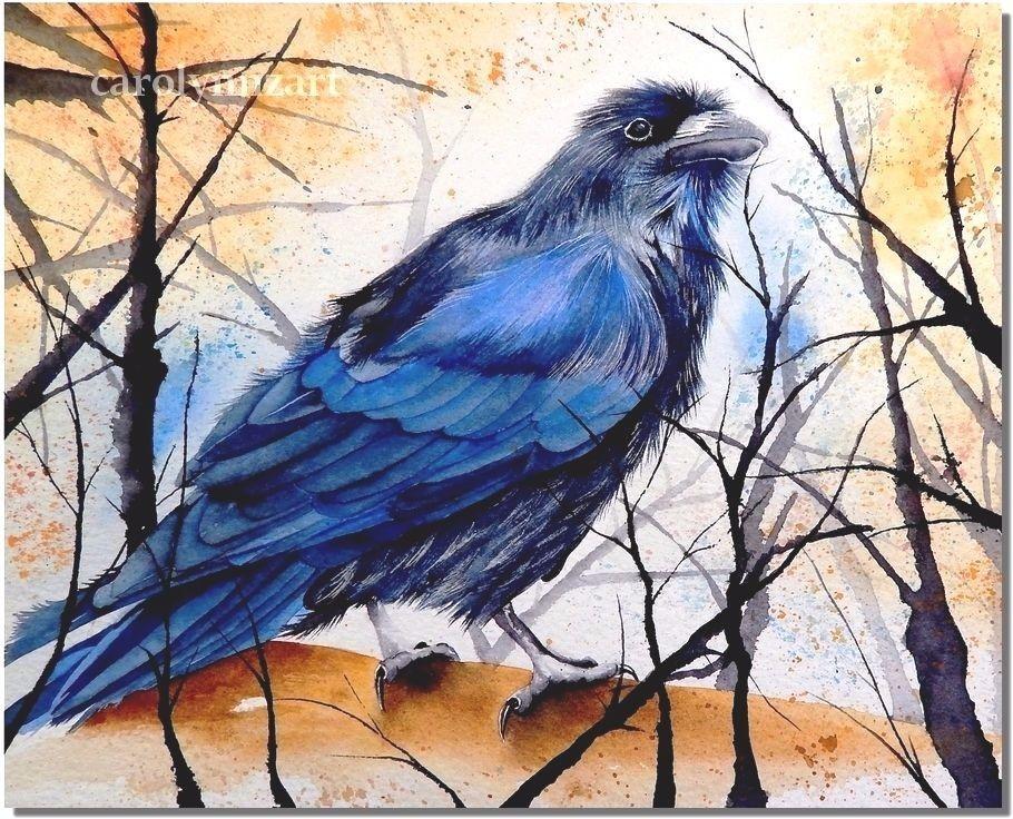 8x10 art print raven crow corvid backyard bird painting
