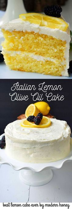 Italian Lemon Olive Oil Cake with Lemon Vanilla Cream Cheese Frosting is the best lemon cake recipe. Moist and tender lemon cake every single time. #oliveoils