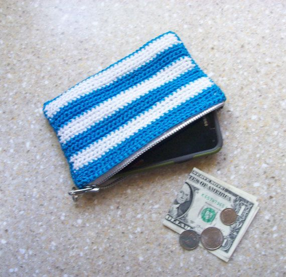 Cell Phone Bag crochet wristlet with zipper  by DesignsbyMissJP
