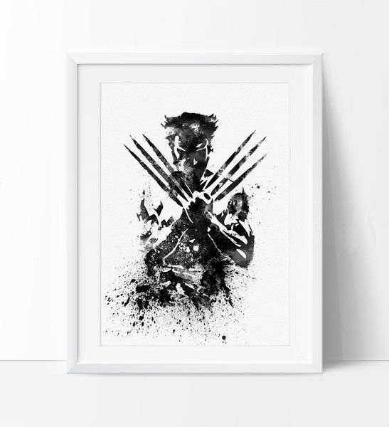 Wall Art For Men wolverine x men watercolor art print, wolverine poster, wall art