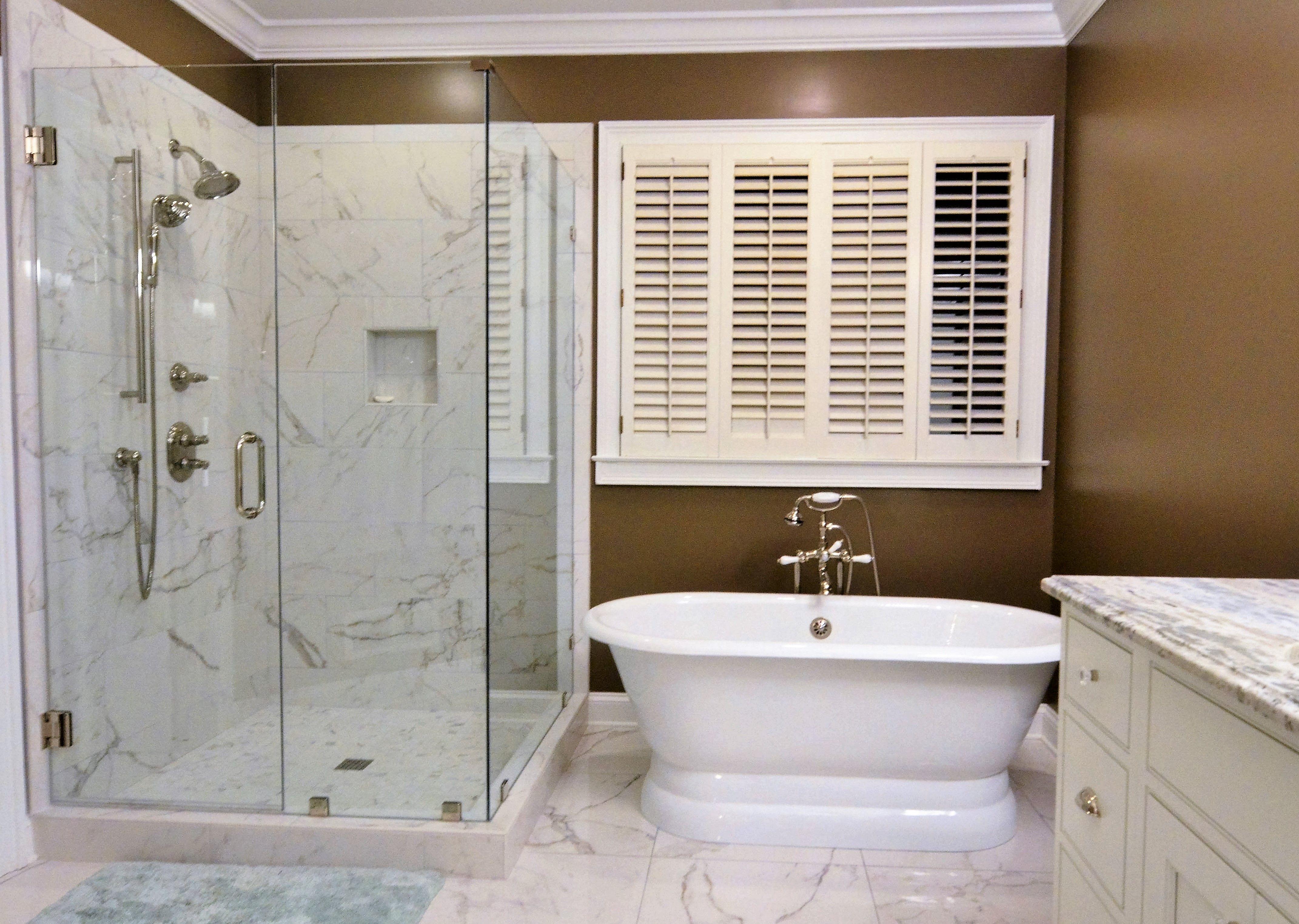 Master Bathroom Renovation By Atlanta General Contractor Penn Carpentry LLC    Freestanding Tub, Frameless Shower