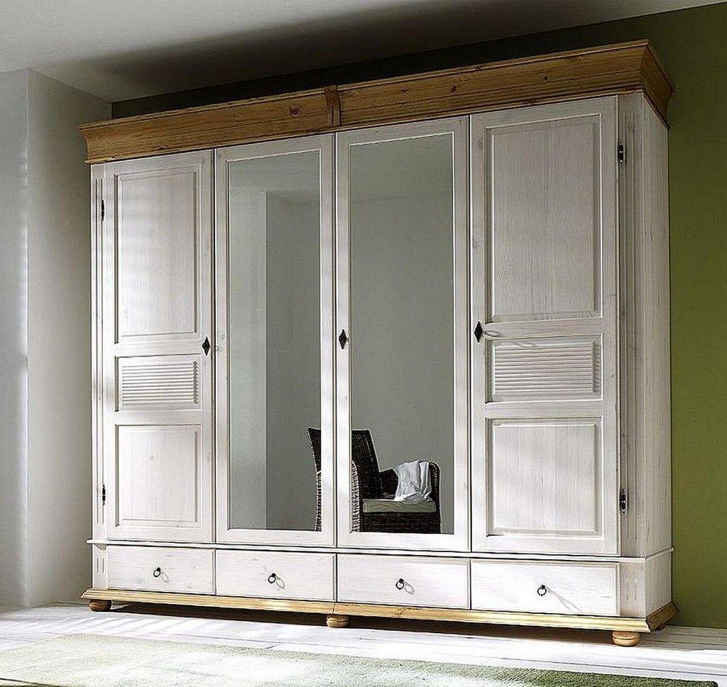 Kleiderschrank 4türig weiß antik Schlafzimmerschrank