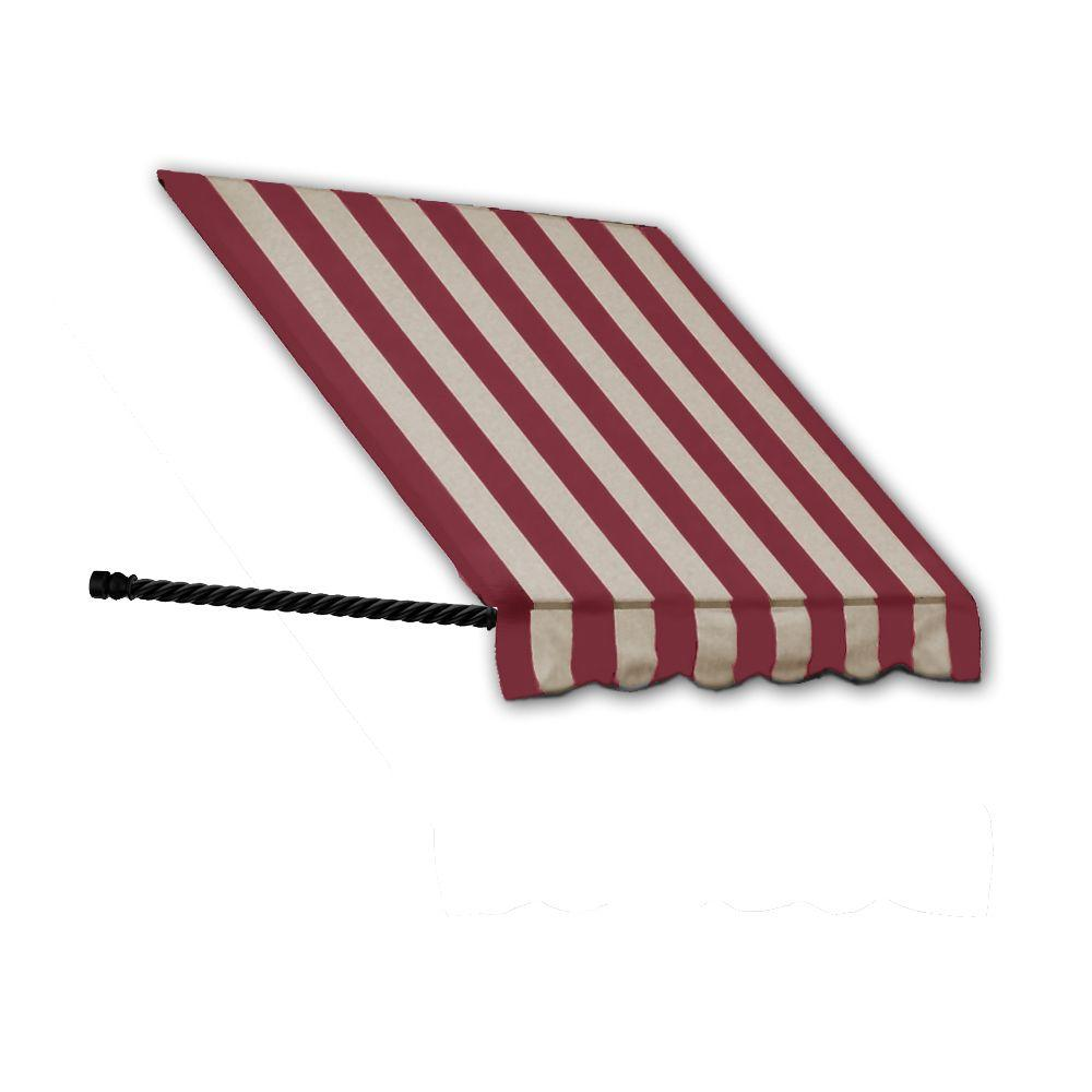 Awntech 8 38 Ft Wide Santa Fe Twisted Rope Arm Window Entry Awning 44 In H X 24 In D Burgundy Tan St32 8bt Window Awnings Red White Stripes Windows