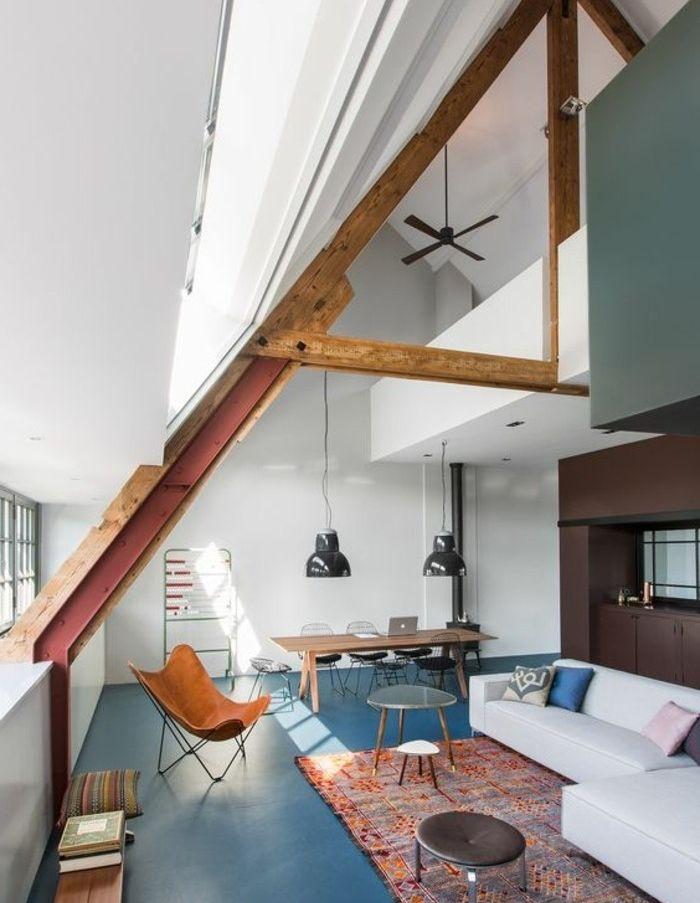 Soggiorno con soppalco, pareti bianche e grigie, pareti color ...